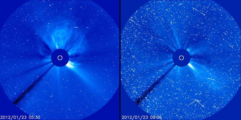 L'éruption solaire du 23 janvier 2012 observée par le coronographe C3 de l'observatoire spatial Soho. L'image de gauche montre les éjections massives de matière. Saisie quelques heures plus tard, l'image de droite révèle les traces des protons rapides qui percutent la matière déjà éjectée, donnant cet effet de neige. © Soho/Esa/Nasa