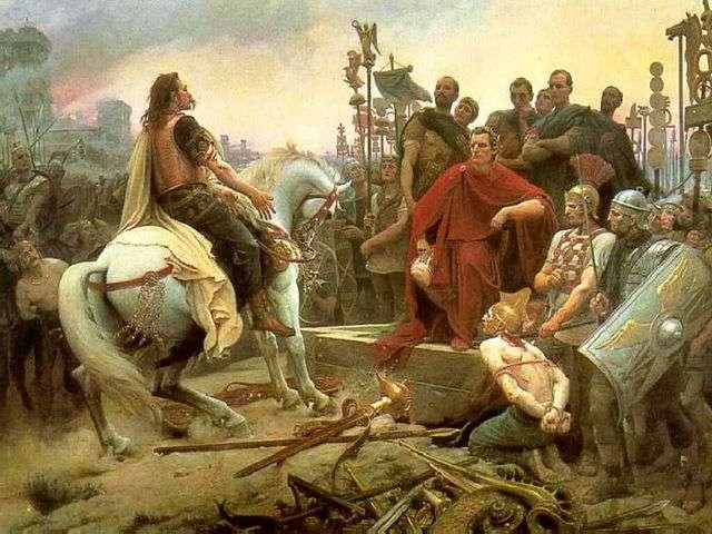 La reddition de Vercingétorix signe la victoire de César dans la guerre des Gaules, qu'il a abondamment abordée dans ses Commentaires sur la guerre des Gaules. © Lionel Royer, Wikimedia Commons, DP
