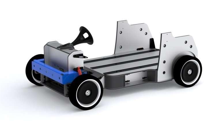 La QBeak est modulaire. C'est d'abord une plateforme, intégrant les batteries et deux moteurs (dans les roues avant). Différents aménagements peuvent venir prendre place, avec des carrosseries diverses, du cabriolet au fourgon. Les batteries s'insèrent dans six emplacements, dont chacun pourrait aussi accueillir une pile à combustible ou un réservoir. © Ecomove