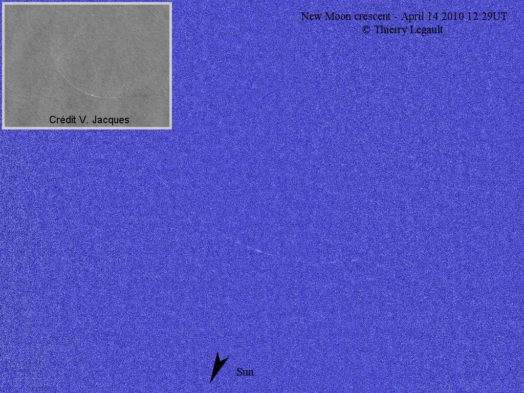 Thierry Legault a réalisé l'exploit de photographier la Nouvelle Lune le 14 avril à l'instant zéro, alors que Vincent Jacques a saisi le fin croissant 1 heure 10 plus tôt (image en médaillon), avant l'arrivée des nuages. Crédit T. Legault et V. Jacques