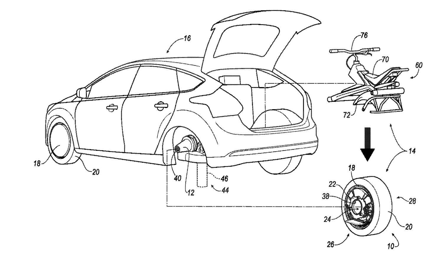Le schéma principal du brevet déposé par Ford. Une fois la voiture garée, un système de soutien (indiqué par le nombre 44) fait descendre une cale (46), qui la soulève. La roue, avec sa suspension, une motorisation électrique et un contrôle électronique pour l'équilibre, est alors descendue pour être détachée. Un siège, installé dans le véhicule, peut lui être fixé. Et la roue devient un véhicule monocycle... © Ford