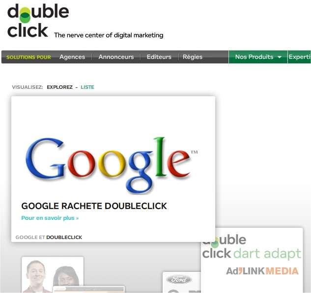 En avril 2007, Google a débourser plus de 3 milliards de dollars pour acheter DoubleClick, champion de la publicité sur le Web. (capture d'écran du site de DoubleClick)