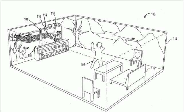 Sur l'un des schémas fournis avec le brevet, Microsoft détaille le fonctionnement de son système d'affichage immersif. Au centre de la pièce, le joueur (indiqué par le nombre 102) se tient face à l'écran principal (104) relié à une console (110) et surmonté du capteur Kinect (118) et d'un vidéo projecteur à 360° (116) qui diffuse l'image du téléviseur sur tous les murs. © Microsoft/USPTO