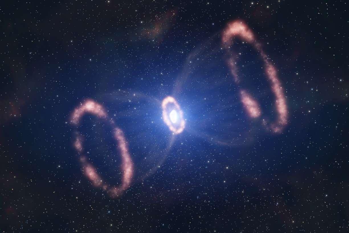 Cette représentation d'artiste montre comment est distribuée la matière éjectée par la supernova SN 1987a, à partir des informations fournies par le spectrographe Sinfoni. Crédit Eso/L. Calçada