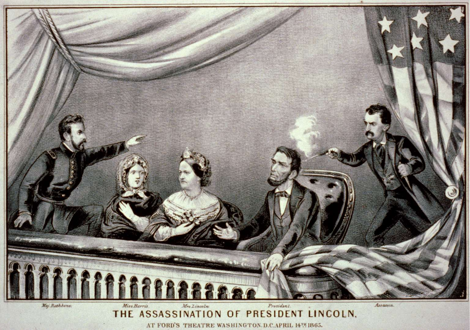 Une gravure de l'assassinat de Lincoln, par Currier & Ives, 1865. © Bibliothèque du Congrès, Wikimedia Commons, Domaine public