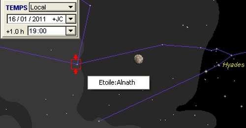 La Lune en rapprochement avec l'étoile Alnath