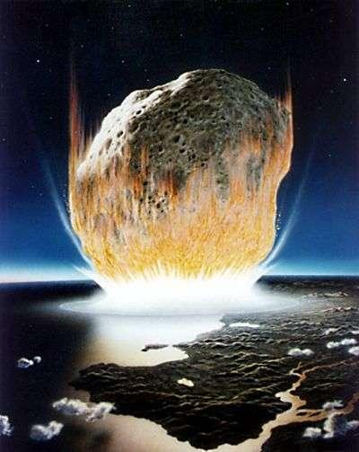 Chute d'astéroïde sur Terre, vue par les artistes de la Nasa.
