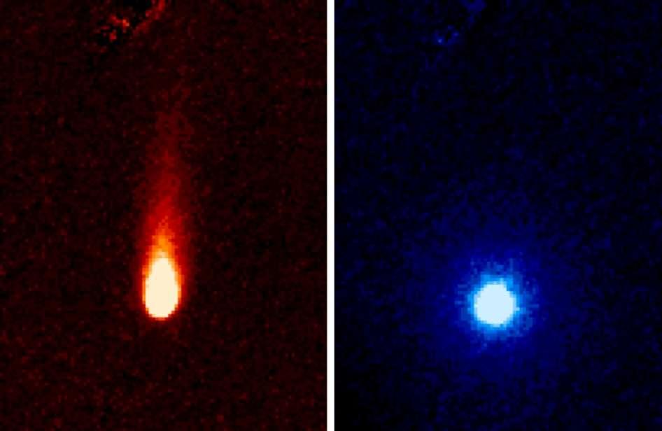 On voit ici des images en fausses couleurs prises à différentes longueurs d'onde dans l'infrarouge avec l'Infrared Array Camera de Spitzer. Elles montrent les fortes émissions de gaz de la comète Ison, que certains appellent la comète « soda ». Du gaz carbonique et de la poussière « pétillent » en effet de la comète en formant une queue d'environ 300.000 km de long. © Nasa