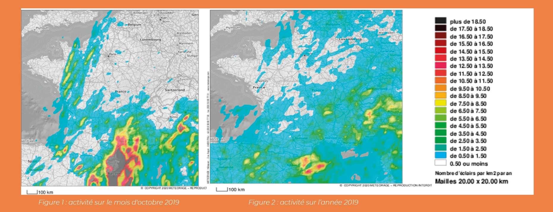 L'activité orageuse a été particulièrement calme en France en 2019 (à droite), sauf en octobre (à gauche) avec un pic dû aux épisodes méditerranéens. © Météorage