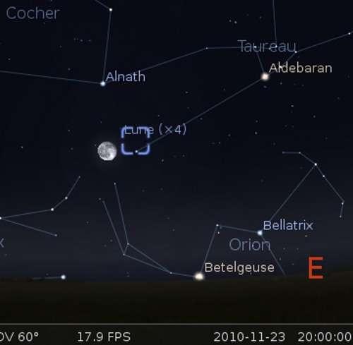 La Lune en rapprochement avec l'étoile Alnath et la nébuleuse du Crabe