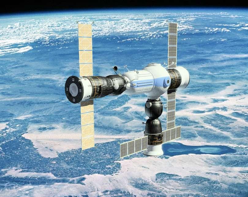 Vue d'artiste de ce que pourrait être le projet de station spatiale privée, développé par un consortium russe. Elle pourrait être desservie par tout type d'engins spatiaux pourvu que le système d'amarrage soit compatible. © Orbital Technologies
