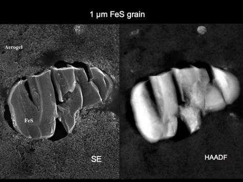 Les analyses révèlent la présence de grains de FeS dans les échantillons(Crédits : NASA)