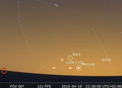 La Lune en rapprochement avec Mars et Mercure