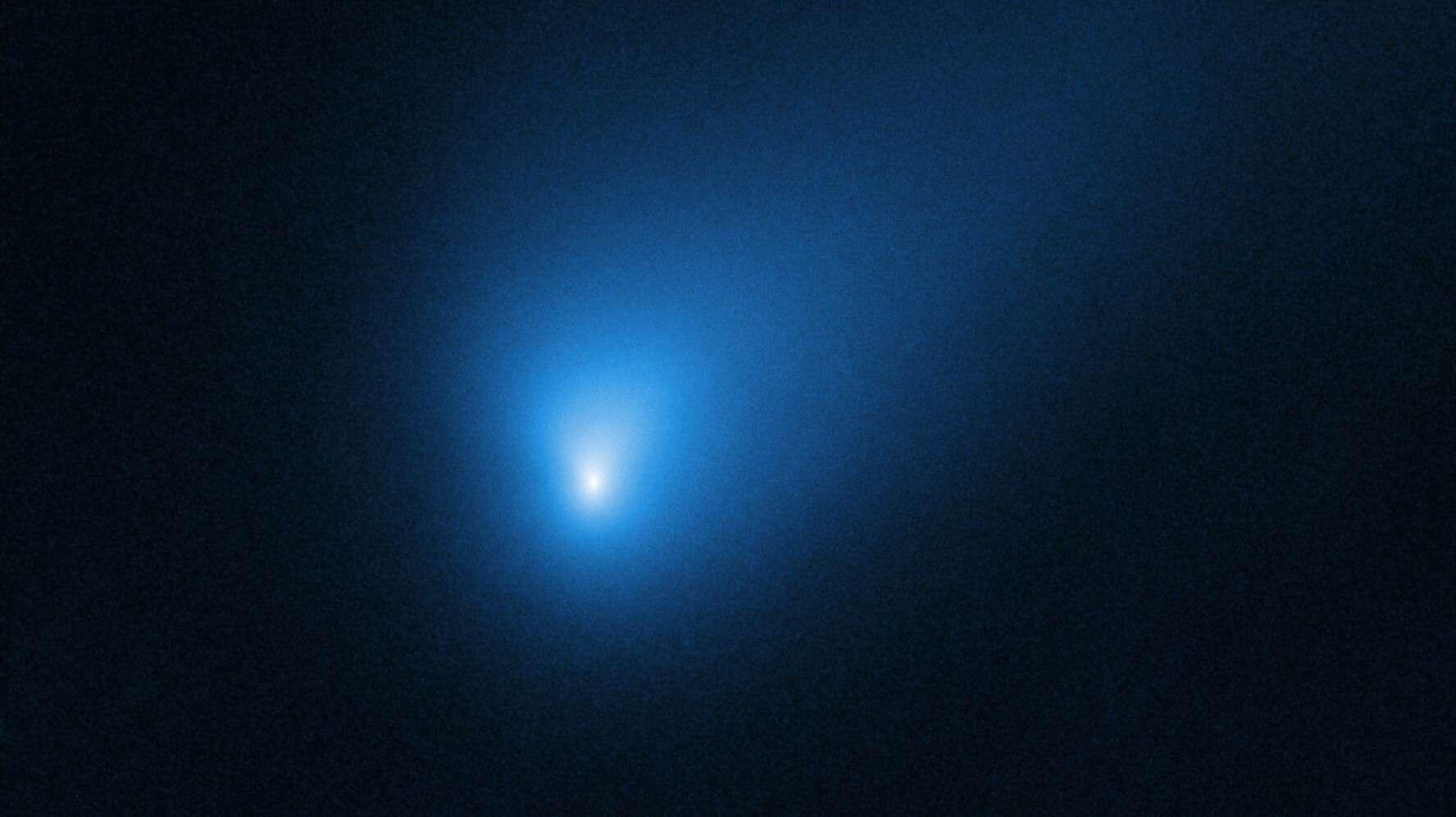 Le 12 octobre 2019, le télescope spatial Hubble a observé la comète 2I/Borisov, alors à une distance d'environ 420 millions de kilomètres de la Terre. On pense que la comète est arrivée d'un autre système planétaire situé ailleurs dans notre Galaxie. © Nasa, ESA, D. Jewitt (UCLA)