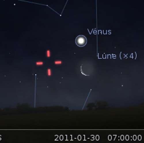 La Lune en rapprochement avec Vénus et la planète naine Vesta