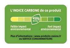 Etiquette renseignant sur le contenu en carbone d'un produit. © Casino