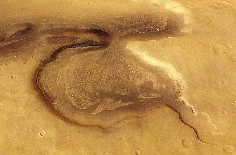 Dans la région de Deuteronilus Mensae, les restes de l'histoire de l'eau martienne continuent de faire rêver les planétologues. © Esa/DLR/FU Berlin (G. Neukum)
