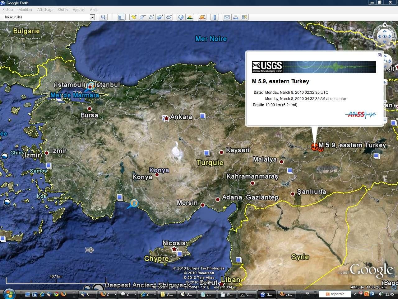 Le séisme s'est produit à environ 10 kilomètres de profondeur dans la partie est de l'Anatolie. Le village de Okcular a été le plus touché. © Google Earth / ANSS (Advanced National Seismic System)