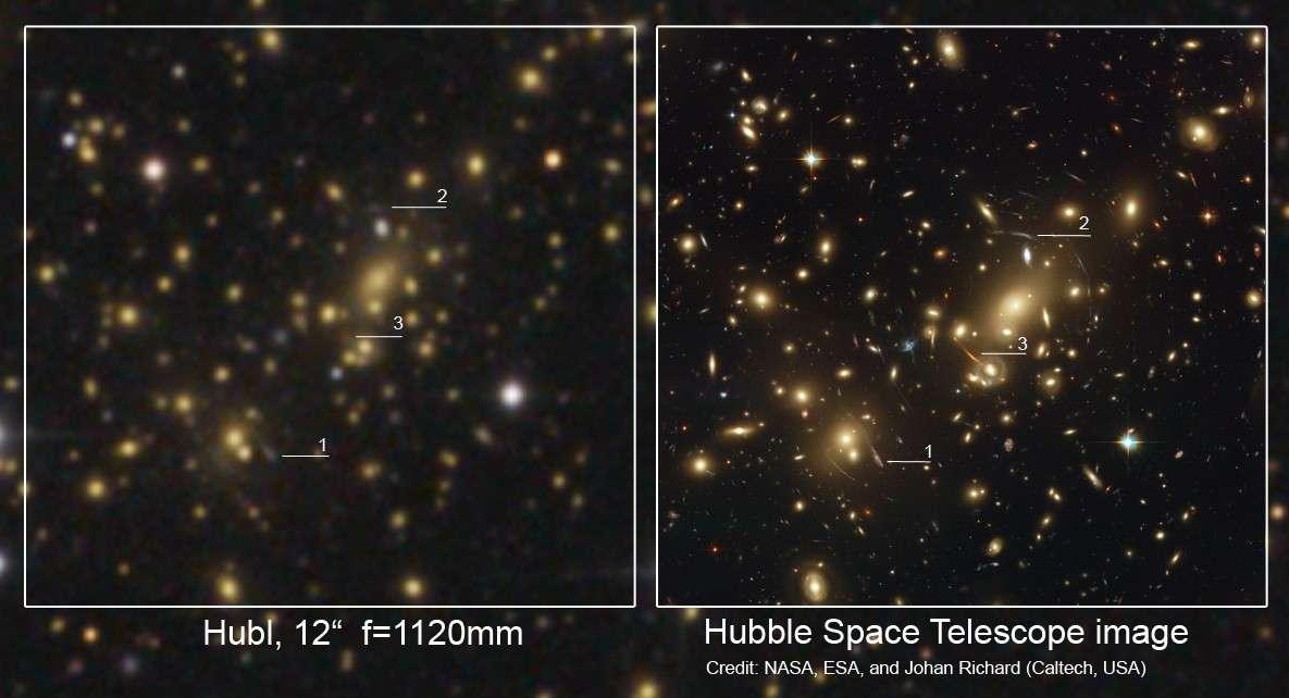 L'astrophotographe Bernhard Hubl propose ce comparatif entre son image de Abell 2218 réalisée à l'aide d'un télescope de 30 centimètres de diamètre et le même objet photographié par le télescope spatial Hubble. Crédit B. Hubl et Nasa