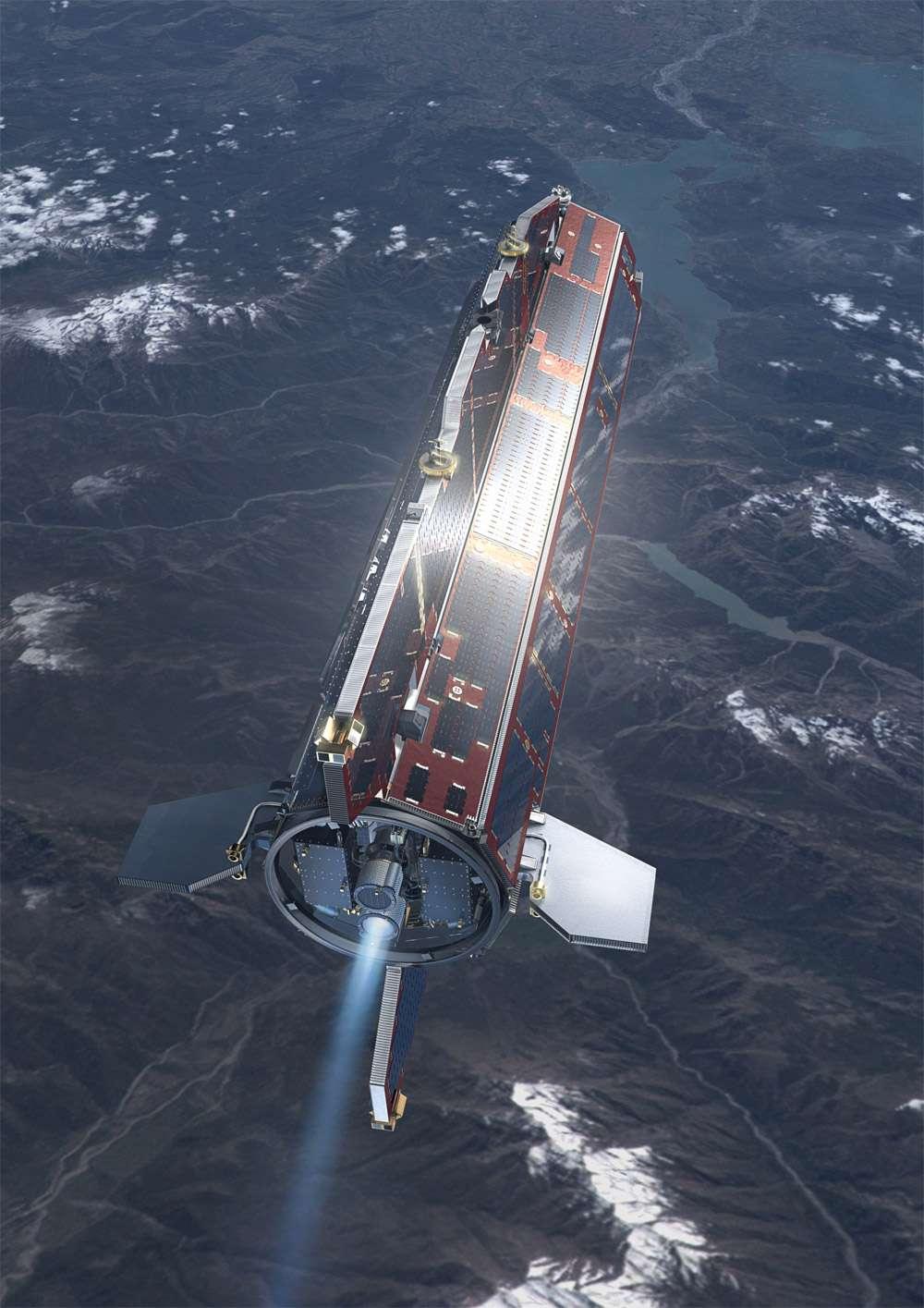 La mission du satellite Goce a été prolongée de 18 mois en août 2012, mais sur une orbite à 235 km d'altitude, soit plus de 20 km en dessous de son orbite initiale. © Esa, AOES Medialab