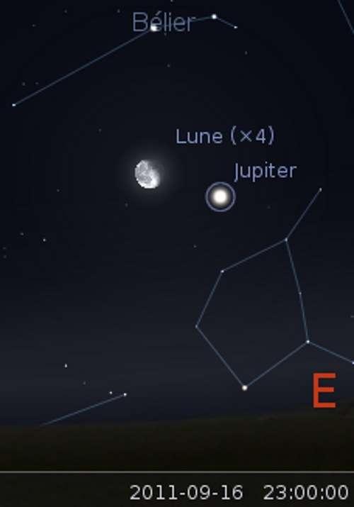 Le 16/09/2011 : la Lune en rapprochement avec Jupiter. © Stellarium
