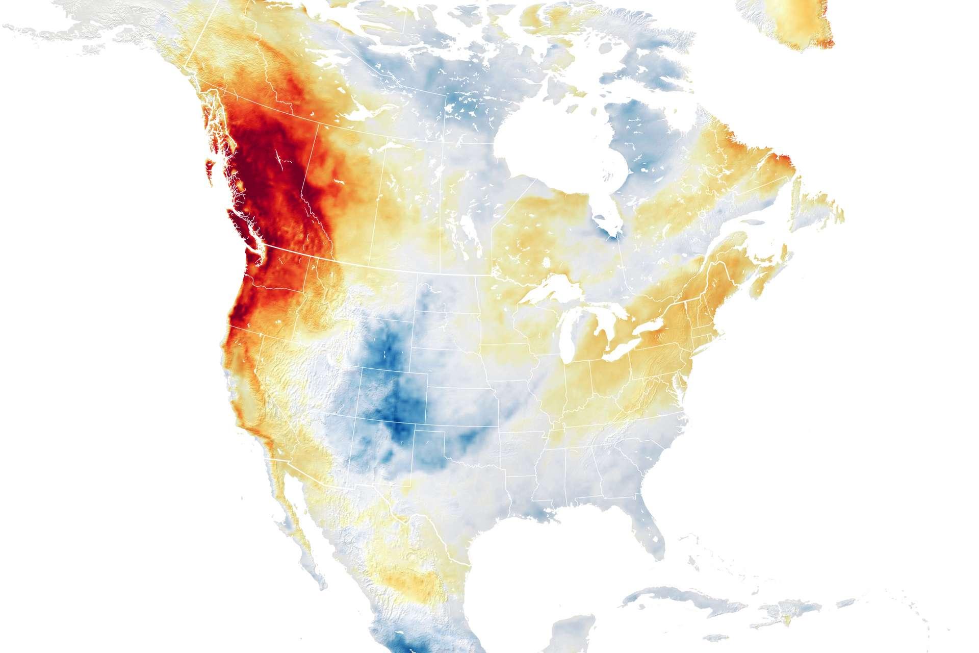 En juin 2021, des vagues de chaleur ont frappé plusieurs villes des États-Unis et du Canada, au nord-ouest, avec des records historiques de températures. © Nasa