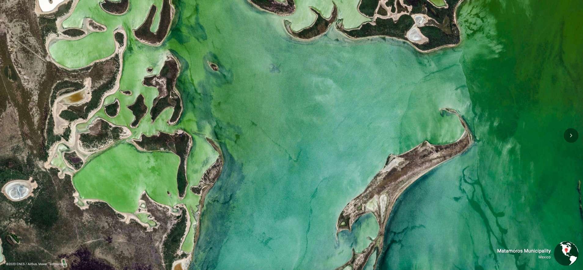 Google Earth contient aujourd'hui 2.500 images en haute résolution de paysages sur tous les continents (ici, Matamoros au Mexique). © 2020 Cnes, Airbus, Maxar Technologies
