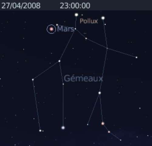 La planète Mars en rapprochement avec l'étoile Pollux