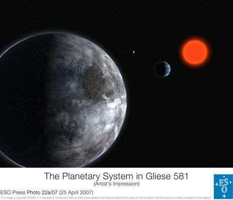Vue d'artiste de ce que pourrait être Gliese 581c.