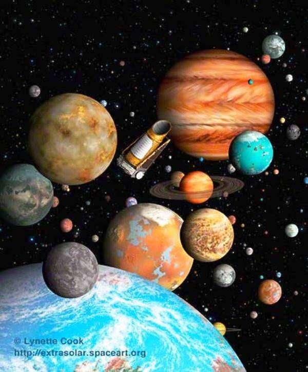 Une vue d'artiste des exoplanètes découvertes grâce à Kepler. Il s'agit aussi bien de superterres que de géantes gazeuses. © Lynette Cook