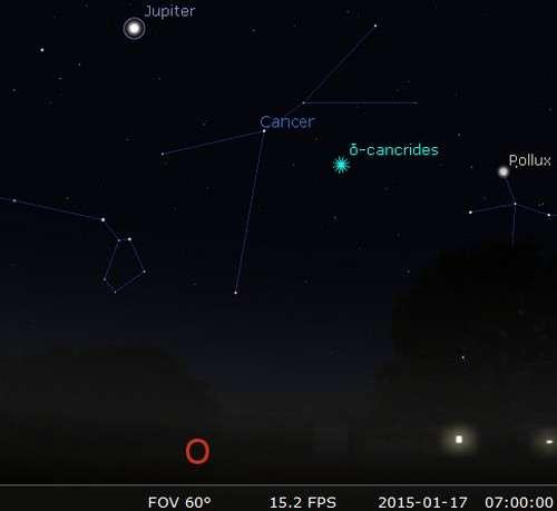 Des étoiles filantes lentes, à 7 h locale, vers l'ouest... © Futura-Sciences