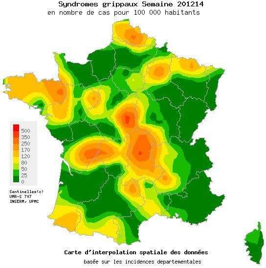 La grippe a perdu du terrain sur toute la France, mais une région d'irréductibles virus bretons résiste encore. Cela ne devrait pas durer. © Réseau Sentinelles