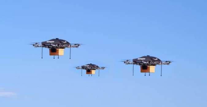 Les drones d'Amazon en vol d'essai. © Amazon
