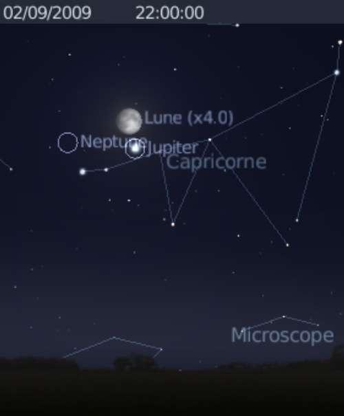 La Lune est en rapprochement avec la planète Jupiter et Neptune