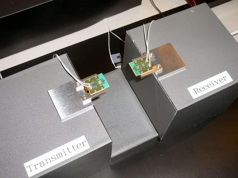 L'ensemble du prototype de Sony, avec, à gauche, l'émetteur à micro-ondes et, à droite, le récepteur. © Sony / Nikkei Electronics