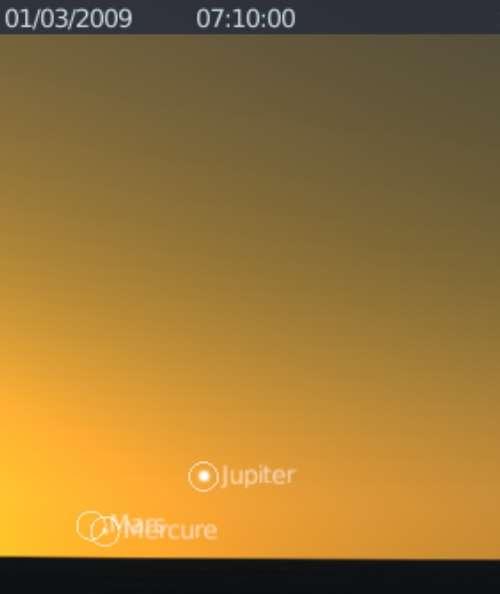 Les planètes Mercure et Mars sont en rapprochement