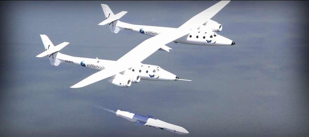 LauncherOne est un projet de lanceur de petits satellites. Il sera transporté jusqu'à une quinzaine de kilomètres d'altitude par le vaisseau mère du SpaceShipTwo, l'avion spatial de Virgin Galactic. Depuis cette altitude, il sera largué. Après une chute libre de 4 secondes, il allumera le moteur de son premier étage puis le second avant de mettre à poste sa charge utile. © Virgin Galactic