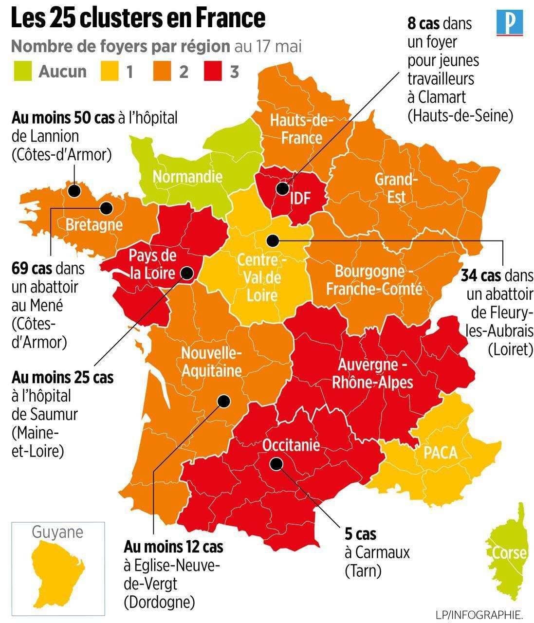 Depuis le 11 mai, 25 nouveaux de foyers de contamination au coronavirus en France. © Le Parisien, Twitter