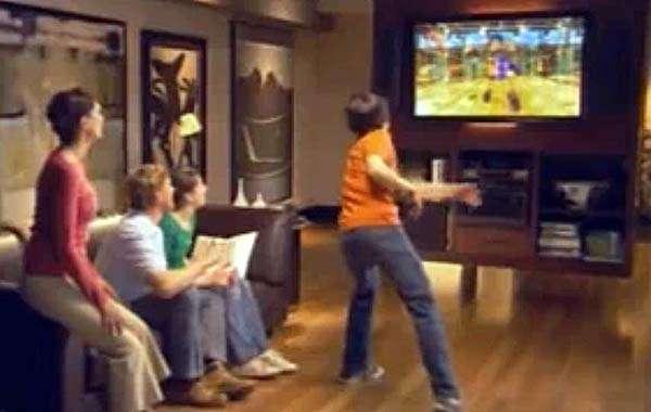 Scène de jeu interactif devant la console du projet Natal. Source Microsoft