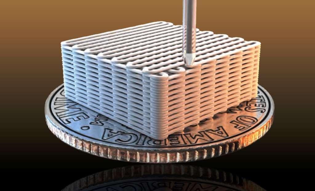 Une illustration de la structure régulière obtenue par impression 3D lors de la fabrication du nouvel aérogel à base de graphène. © Ryan Chen, LLNL