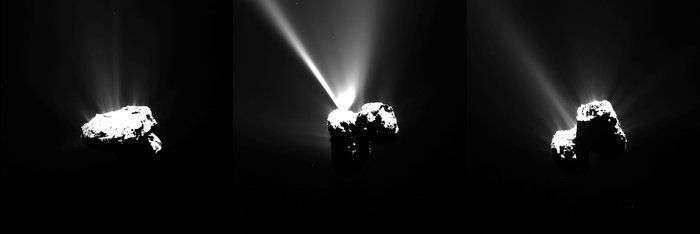 Série d'images du noyau de 67P/Churyumov-Gerasimenko prises par la caméra à angle étroit Osiris, le 12 août, quelques heures avant le périhélie de la comète. Rosetta était alors à 330 km de sa surface très active. La première photo a été réalisée à 14 h 07 TU, la seconde hirsute de puissants jets de gaz, à 17 h 35 TU et la troisième à 23 h 31 TU, environ 2 h 30 avant le périhélie. Voir l'animation gif de cette séquence ici (3,6 Mo). © Esa, Rosetta, MPS for OSIRIS Team MPS, UPD, LAM, IAA, SSO, INTA, UPM, DASP, IDA