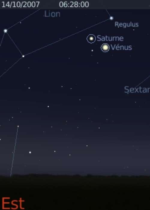 La planète Vénus est en conjonction avec la planète Saturne