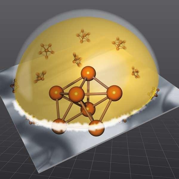 Une gouttelette d'un alliage liquide de silicium et d'or sur un substrat de silicium reste liquide même à une température de 300°C inférieure à celle de solidification de l'alliage en raison de la présence à sa surface d'agrégats pentagonaux d'atomes. Crédit : M. Collignon-ESRF