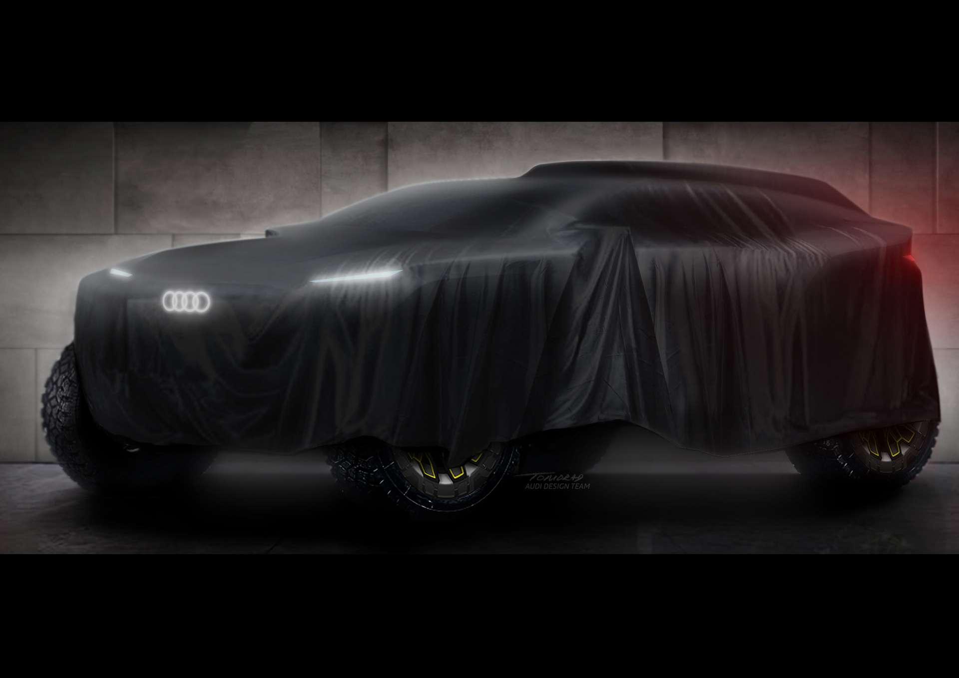 Le prototype de tout-terrain électrique qu'Audi compte aligner au Dakar 2022 est encore bien mystérieux. © Audi