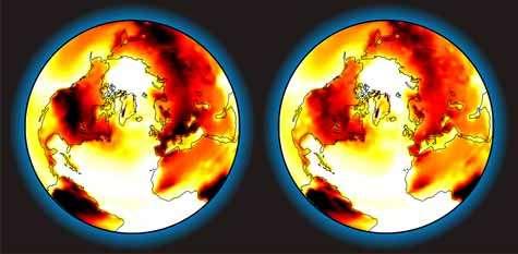 La Terre à la fin de ce siècle. Les températures les plus chaudes sont représentées en rouge foncé. A gauche, selon les estimations actuelles. A droite, réchauffement moins important grâce aux cultures promues par Andy Ridgwell. Crédit : Joy Singarayer
