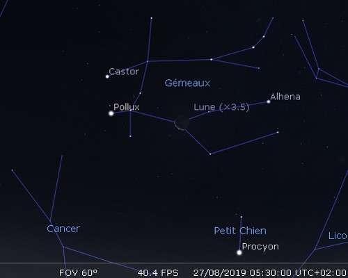 La Lune en rapprochement avec Castor et Pollux