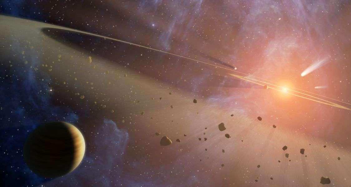 Une vue d'artiste du disque protoplanétaire entourant le jeune Soleil quand les planètes étaient encore en formation. Du gaz et du plasma plongés dans le champ magnétique de notre étoile auraient été à l'origine d'un processus de chauffage par induction de certains des corps présent dans la Ceinture d'astéroïdes. Cette théorie a été partiellement remise en cause. © Nasa