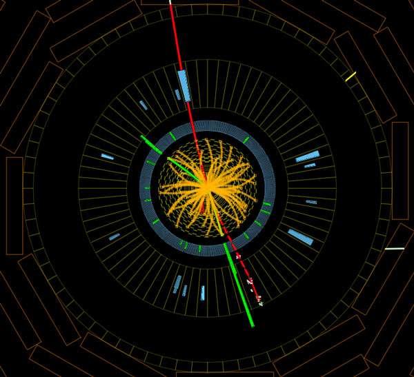 Des protons entrent en collision dans le détecteur CMS à 8 TeV, formant des bosons Z qui se désintègrent en électrons (lignes vertes) et en muons (lignes rouges). Un tel événement est compatible avec la désintégration d'un boson de Higgs du modèle standard. © CMS