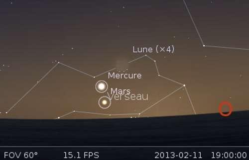Le 11 février, venez observer la Lune en rapprochement avec Mars et Mercure. © Futura-Sciences