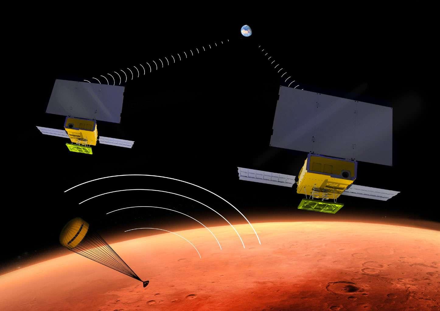 Les CubeSat pourraient être utilisés dans des situations de plus en plus audacieuses, comme c'est le cas avec la mission InSight de la Nasa. Un progrès rendu notamment possible grâce à la miniaturisation des instruments scientifiques et des servitudes des satellites (c'est-à-dire leurs éléments de navigation et de structure). © JPL/Nasa